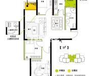 14#B1户型三室两厅双阳台88.67㎡