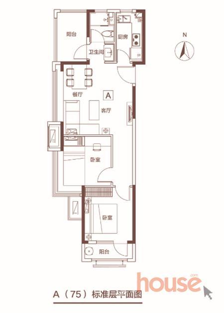 a户型75㎡两室两厅一卫