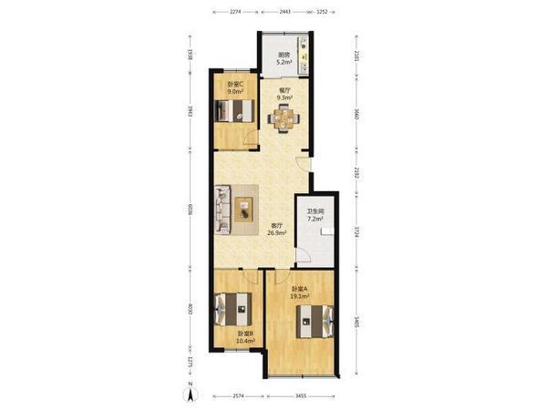 康复路小区框架房二楼 二中东校高性价比 大三居 宽敞明亮