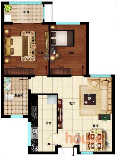 A户型92㎡两室两厅一卫