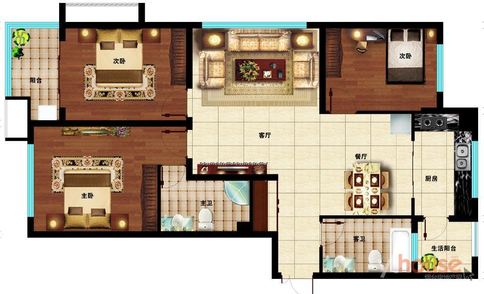 D户型133㎡三室两厅两卫