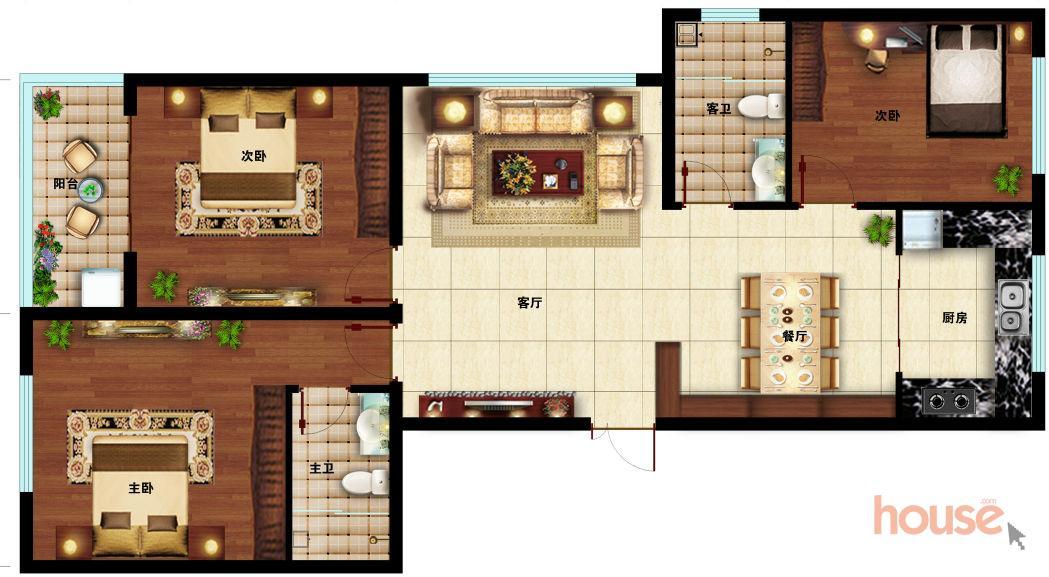E户型130㎡三室两厅两卫